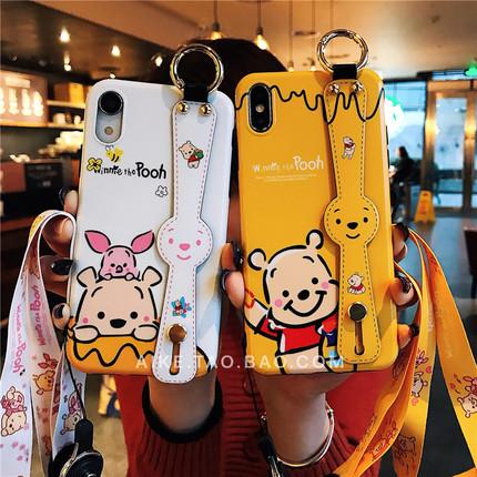 卡通小熊8plus苹果x挂绳软手机壳