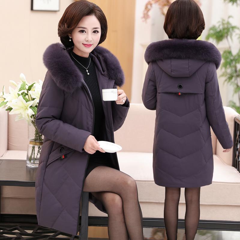 妈妈冬装外套中长款棉衣40-50岁中老年女装棉袄中年冬季羽绒棉服