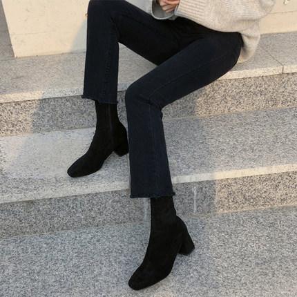 阔腿牛仔裤女黑色九分裤图片