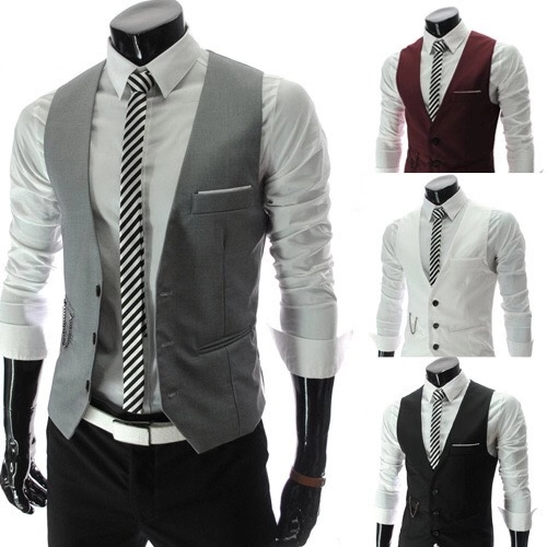 Mens suit vest Korean version spring and autumn thin youth slim and handsome individual Vest Jacket trend