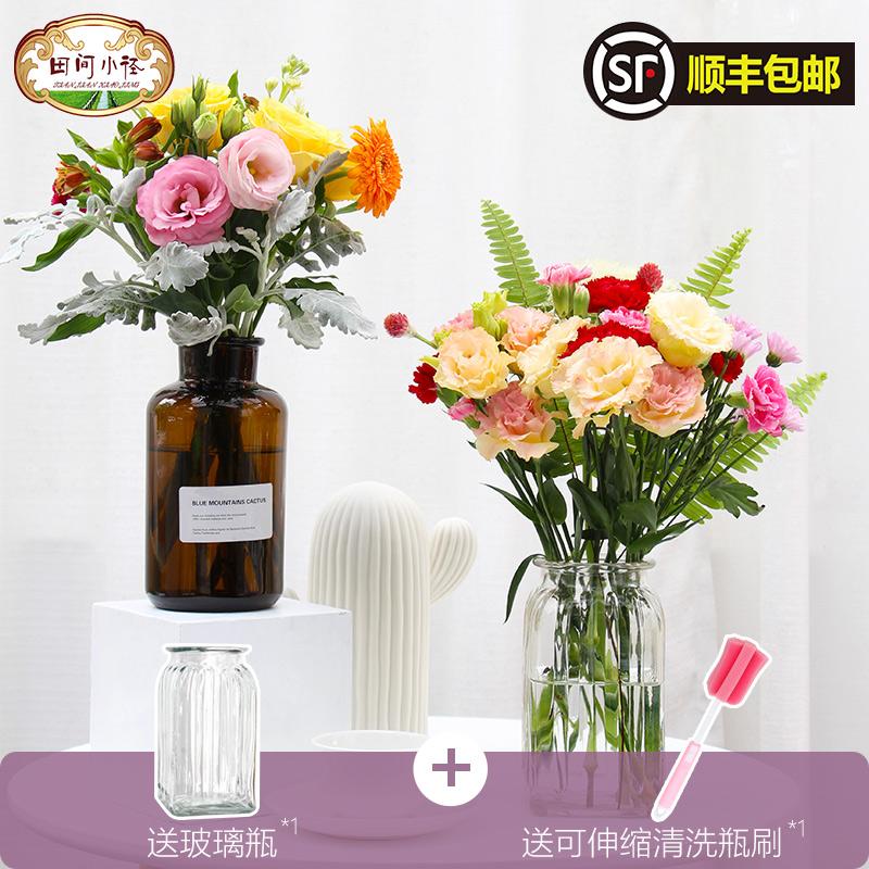 深圳鲜花速递同城石竹红玫瑰鲜花混搭包月一周一花家用康乃馨鲜花