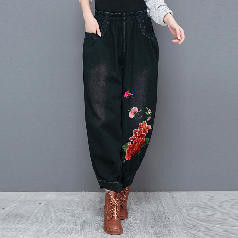 Summer thin national style womens clothing large size literature and art RETRO embroidery embroidered jeans lantern Harem Pants loose
