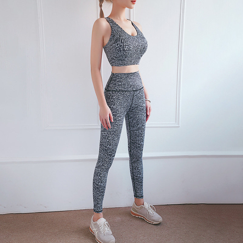 Spring and summer 21 new print sexy back sports bra peach high waist hip lifting tights Yoga suit two piece set