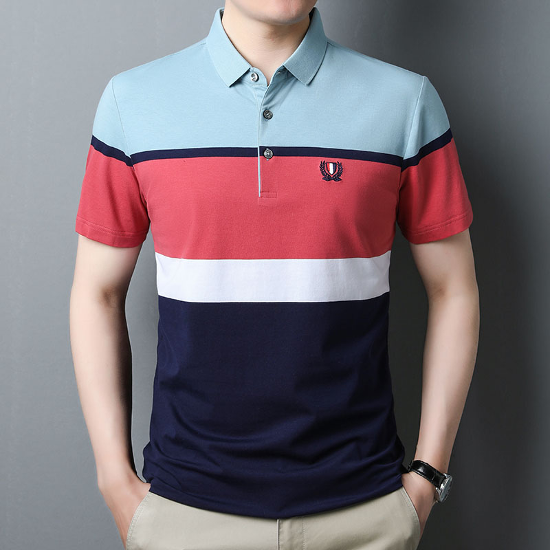 Summer new middle-aged mens cotton stripe short sleeve T-shirt trend. Blood leisure polo shirt father summer clothes