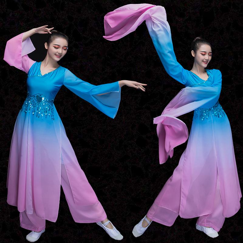 2018新款水袖舞古典舞演出服�@��舞��鑫璎F代采薇舞蹈服�b成人女