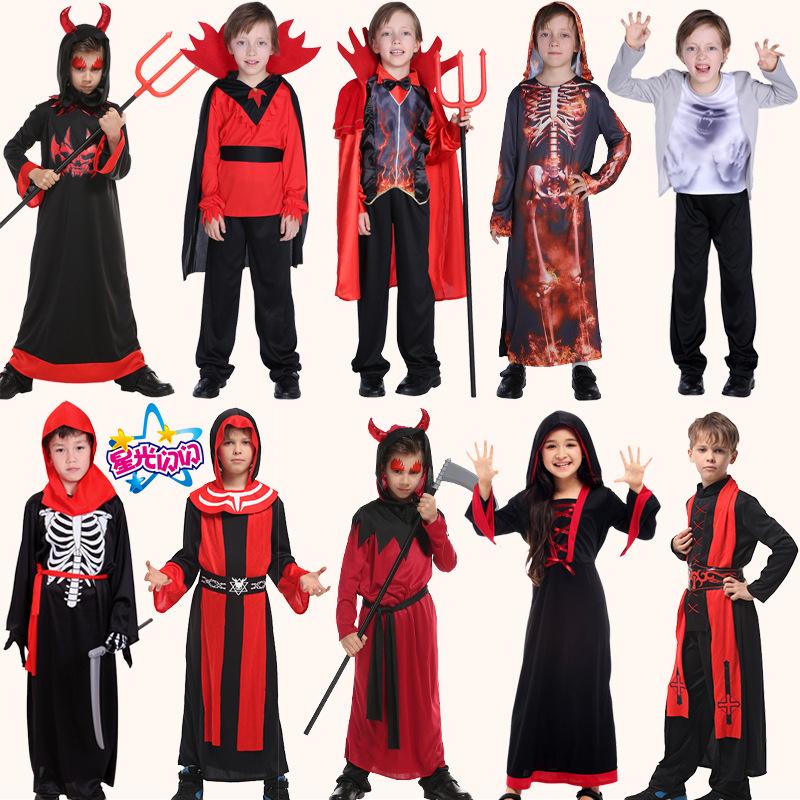 六一节cosplay儿童吸血鬼衣服恶魔鬼骷髅套装化装舞会表演出服饰