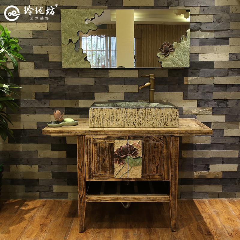 新中式古典卫浴柜洗漱洗手脸盆组合柜酒店客栈落地实木柜台上面盆