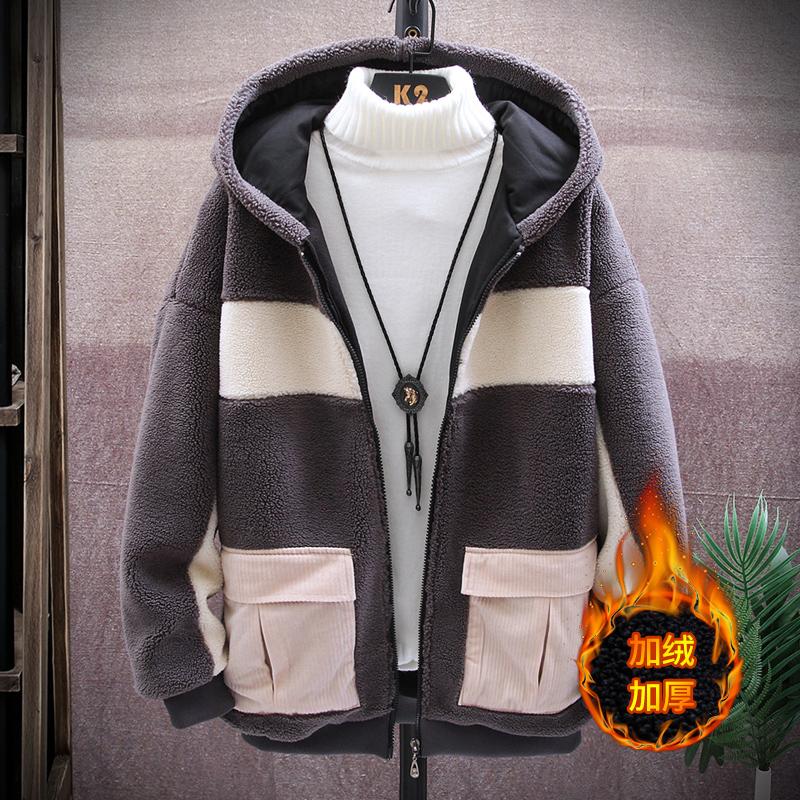 羊羔绒外套2019新款韩版潮流冬装休闲棉袄拼接夹克男M9001P78