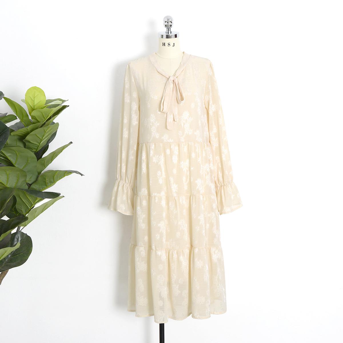 (用70元券)法式连衣裙秋装2019年新款女收腰显瘦提花系带气质蛋糕裙