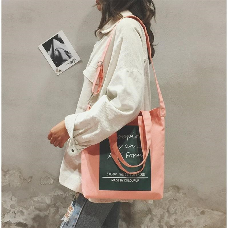New canvas bag womens one shoulder Crossbody hand zipper Korean version bag handbag youth leisure simple college student bag