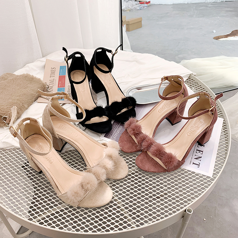 Real wool ball sandals women 2020 summer new Korean version of fairy thick heel with high heel shoes net red gentle womens shoes