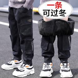 男童加绒裤子秋冬款2020年新款冬季加厚工装裤牛仔裤儿童棉裤外穿