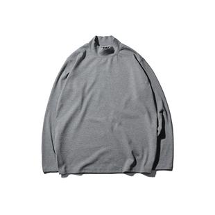 長袖t恤男韓版潮流ins原宿風寬鬆情侶純色上衣學生內搭高領打底衫