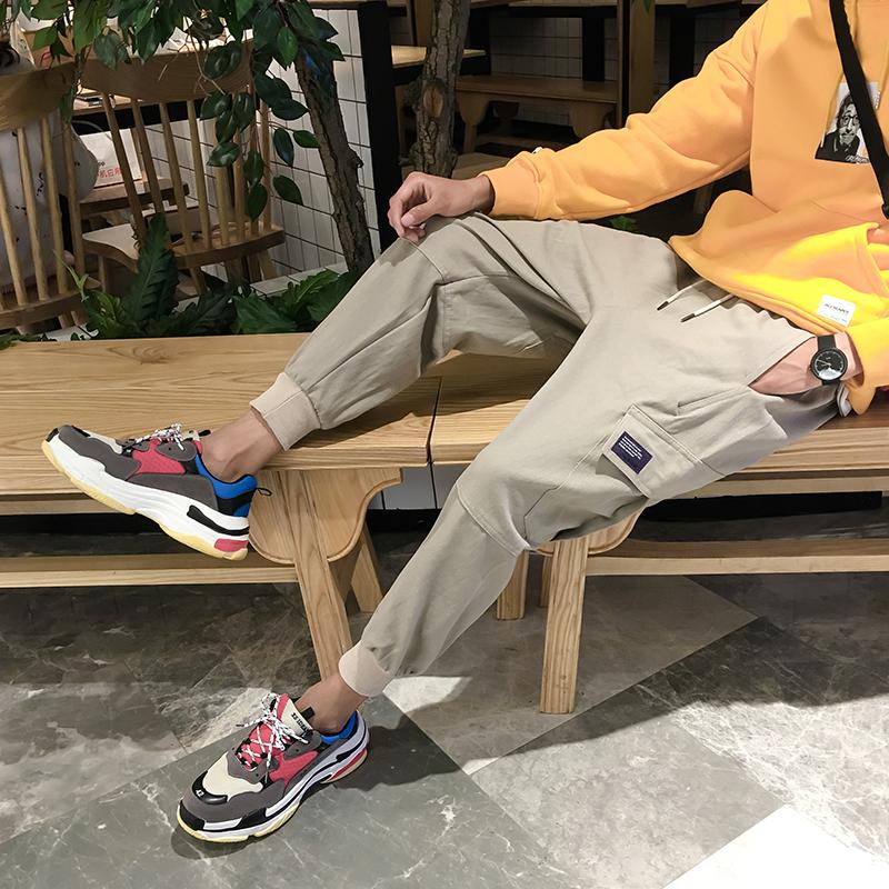 春夏韩版哈伦工装裤男宽松潮流学生新款多口袋青年束脚运动九分裤