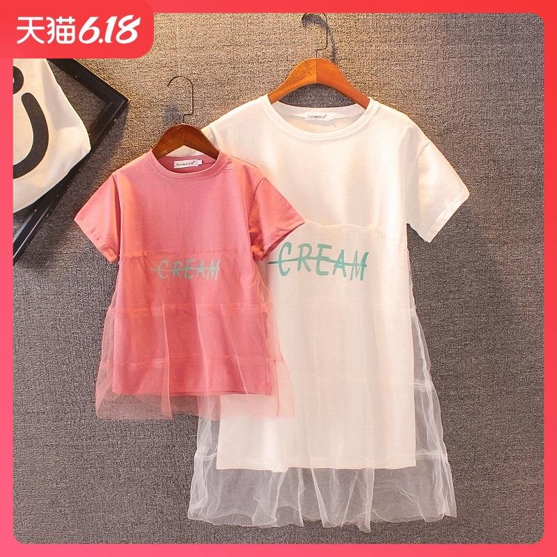恤裙新款夏季洋气母女连衣裙女童仙女长裙韩版潮2020亲子装网纱T