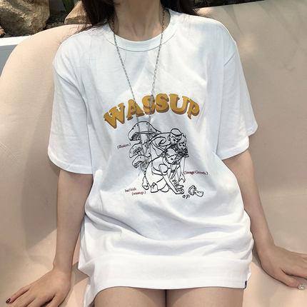 WASSUP2019春夏采蘑菇圆领休闲印花短袖男女情侣宽松t恤衫tee半袖