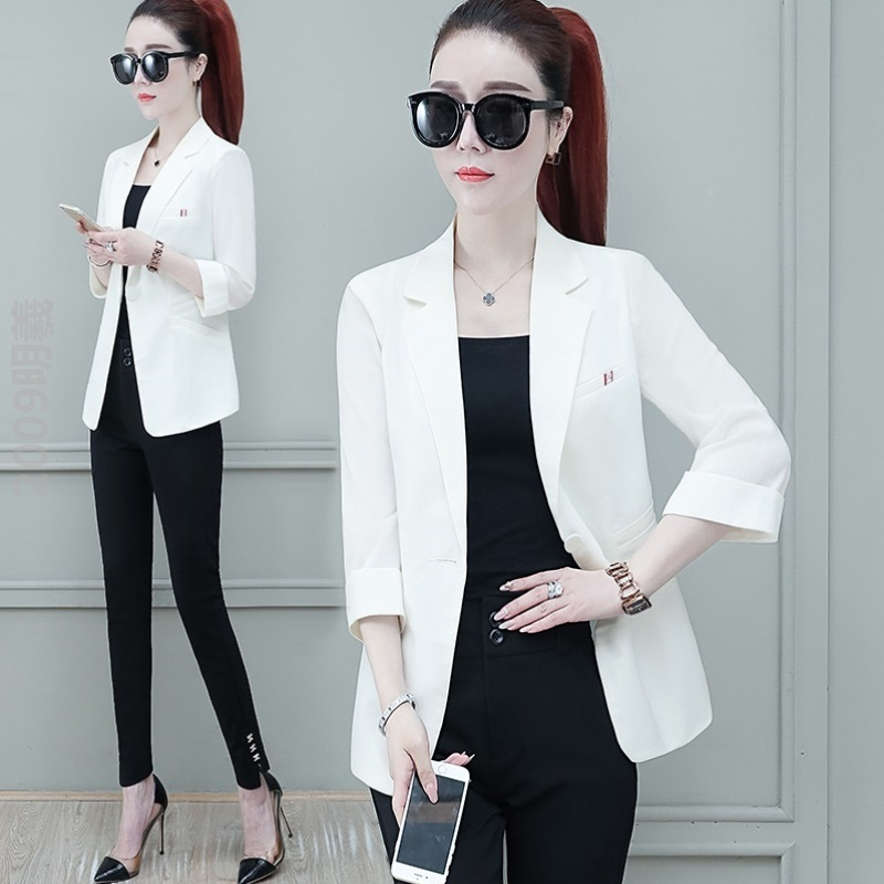 25-40 years old lady suit coat spring Lapel 7 / 3 sleeve solid color short coat waist, wide outdoor temperament