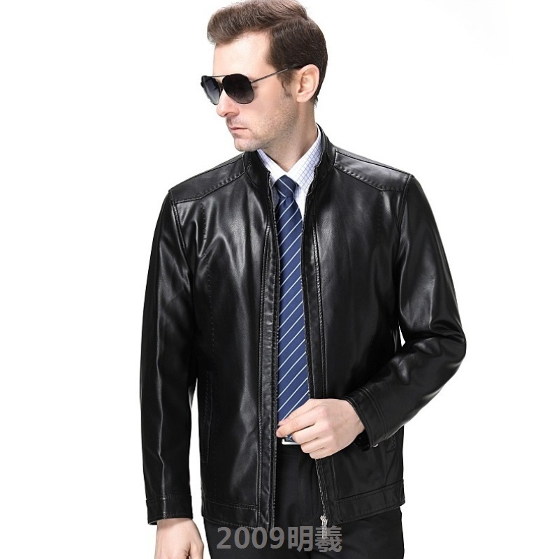 New middle-aged and old Haining Leather Mens single jacket plus cashmere handsome spring and autumn coat mens high temperament