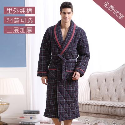 冬季男士睡袍纯棉夹棉袄保暖睡衣中老年人加棉加厚加长款老人浴袍