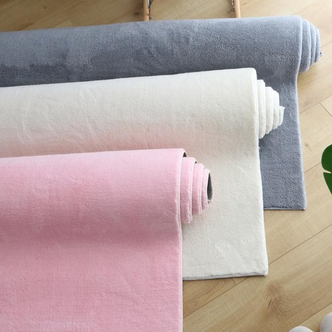 地垫满铺纯色针织棉地毯防滑可水洗 简约北欧地毯卧室客厅床边加厚