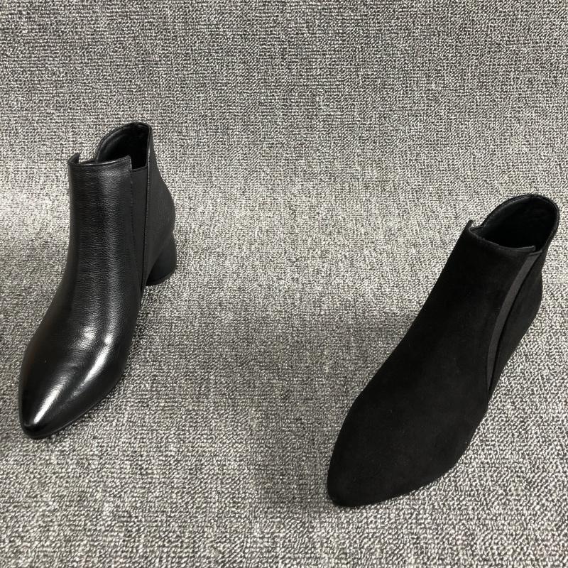 外贸清仓2018秋季新款真皮中女短靴