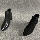 外贸清仓2018秋季新款真皮女鞋中粗跟短筒英伦软底尖头牛皮女短靴