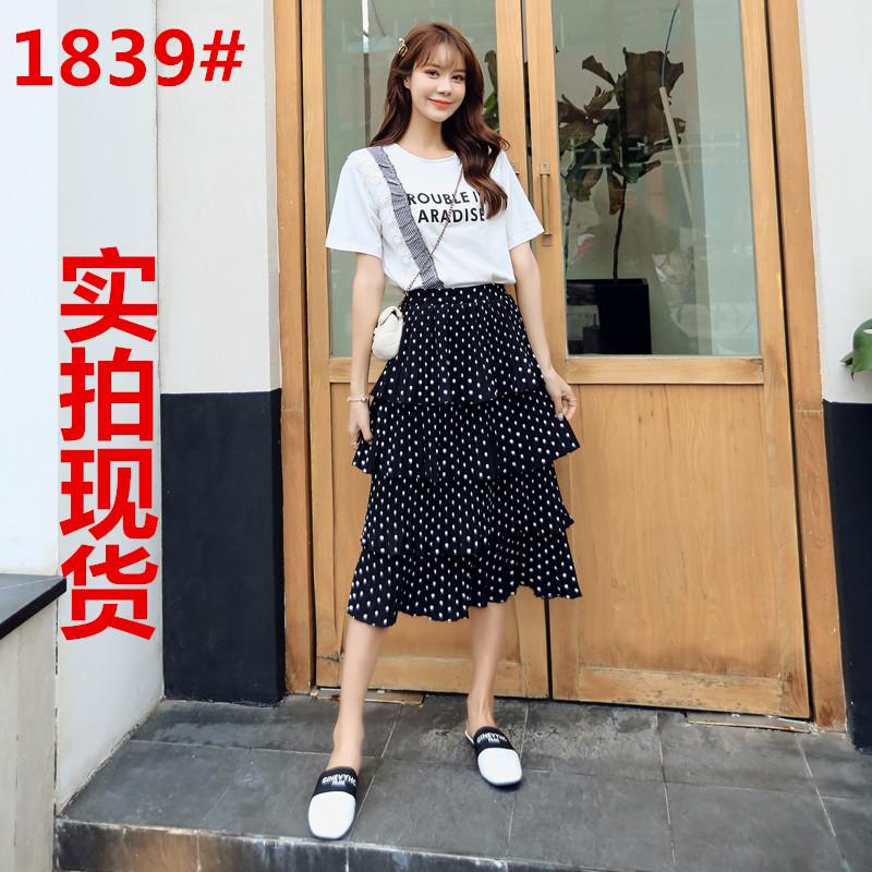 夏季连衣裙女春秋装2019新款时尚网纱长款仙女套装裙波点流行裙子