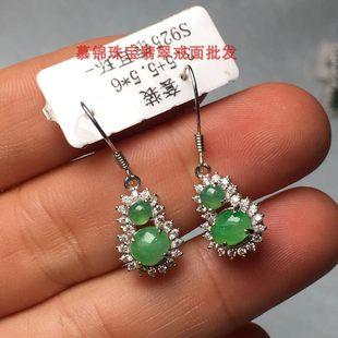 慕锦珠宝缅甸天然翡翠925银镶嵌翡翠耳坠