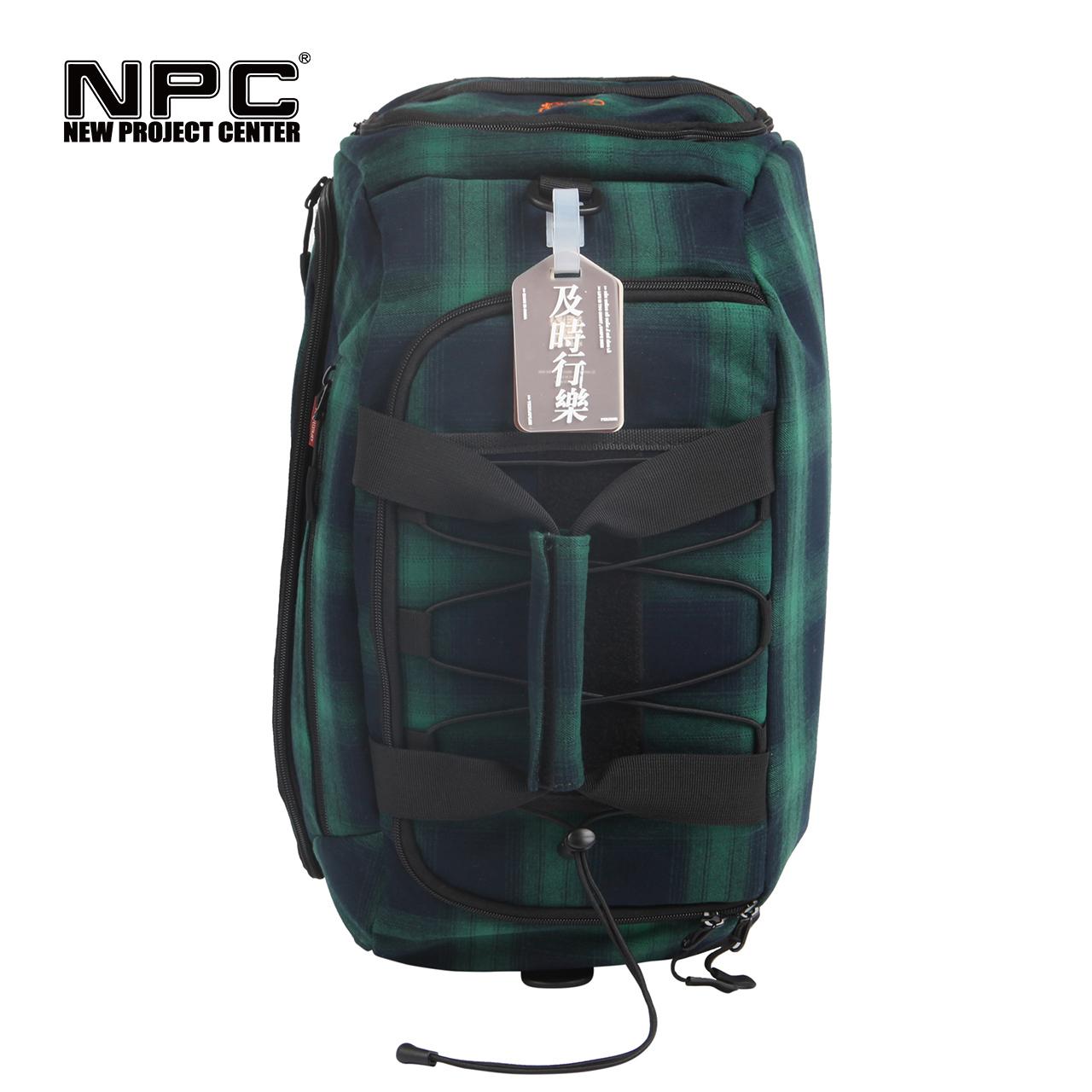 NPC潮牌YE3NJOY及时行乐旅行袋大容量绿色格子背包登山包双肩户外