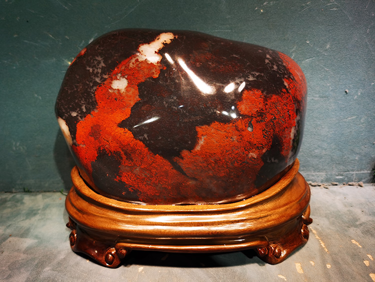 广西桂林鸡血玉摆件奇石天然原石水石山料石材观赏石大红袍镇宅7