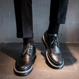 皮鞋男秋冬透气布洛克黑色小皮鞋男韩版潮鞋英伦商务男士休闲皮鞋