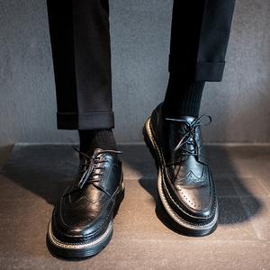 夏季透气布洛克黑色韩版潮鞋小皮鞋