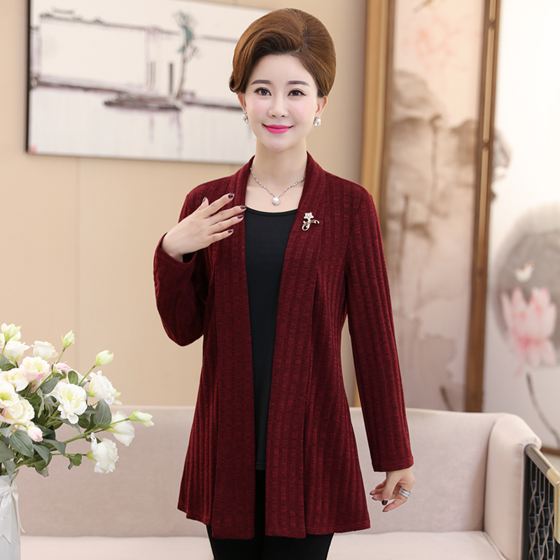 Middle aged and elderly womens autumn hooded knitted cardigan mothers middle aged womens sweater