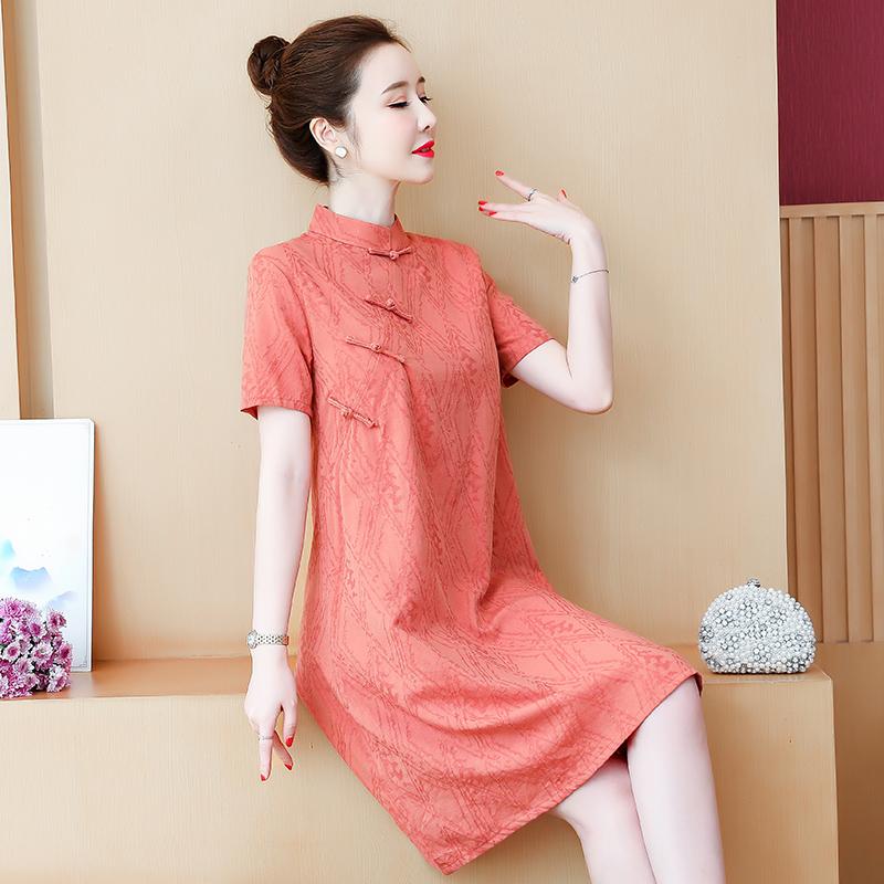 实拍宽松旗袍新式夏季改良版年轻款少女大码孕妇中国风连衣裙