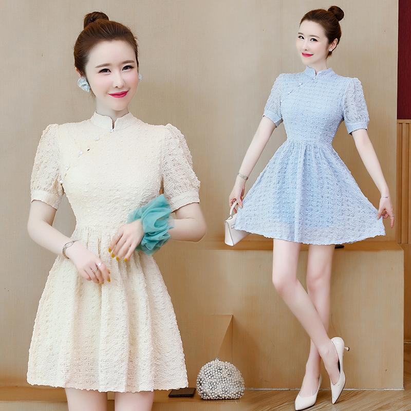 实拍旗袍改良版连衣裙收腰显瘦泡泡袖宽松大码年轻款短裙女装