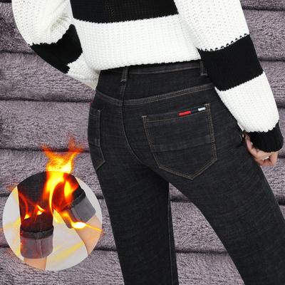 2019秋冬季新款加绒加厚牛仔裤女装小脚铅笔裤女弹力显瘦长裤子潮