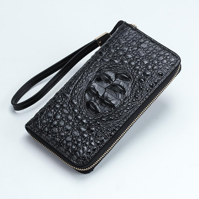 鱷魚紋錢包 男士長款拉鏈手包女士手拿包 時尚商務休閑錢夾皮夾潮