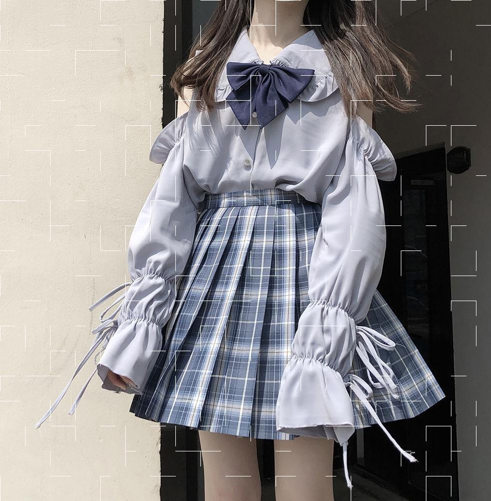 Japanese soft girl Lolita in autumn with Lace Baby collar long sleeve shirt womens bandage loose college style top