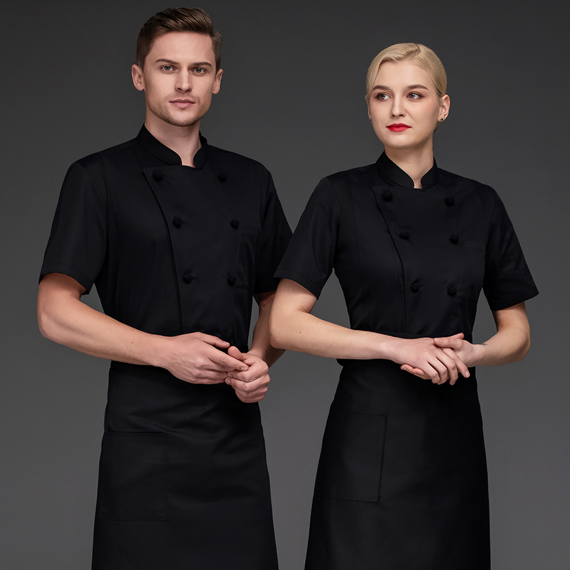 Hotel chef clothing short sleeved bakery work clothes cake maker uniform flower mounting master clothing baking master clothing