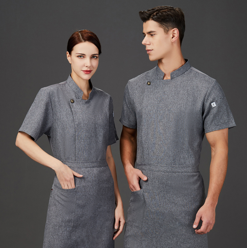Chinese restaurant barbecue chef work clothes summer short sleeved Baker uniform cake shop flower mounted baking clothes