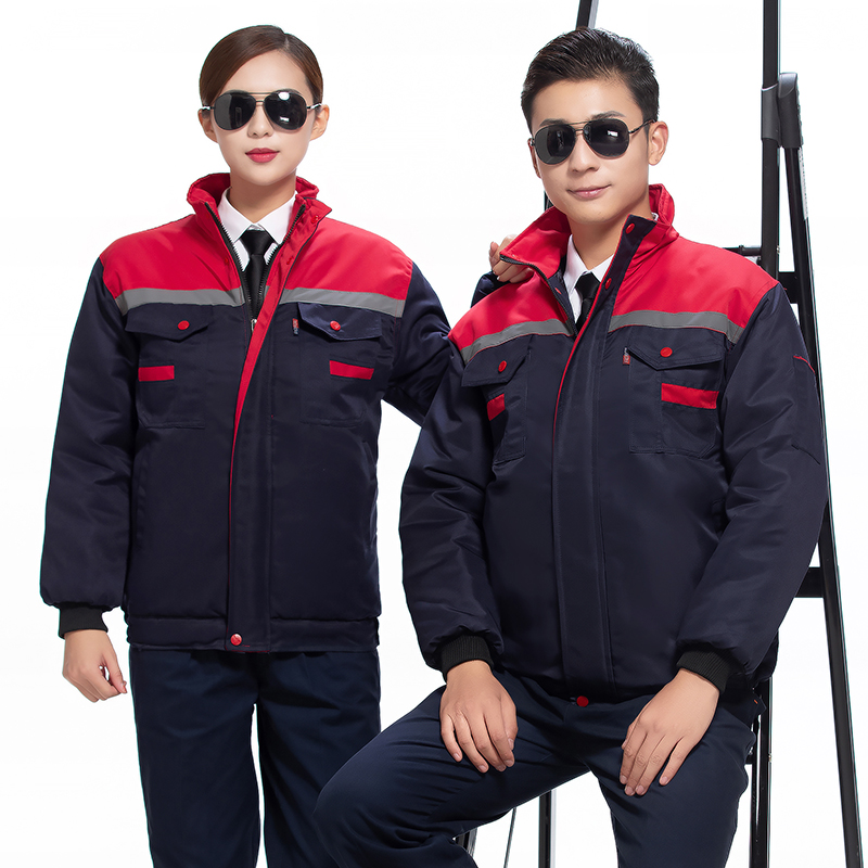 Customized hotel engineering department work clothes coat cotton padded jacket winter property machinery maintenance electrician uniform