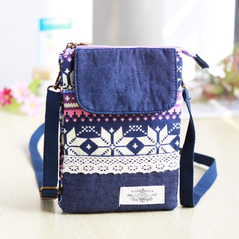 手机包女斜挎2019新款民族风帆布艺挂脖零钱袋装6寸手机的小包包