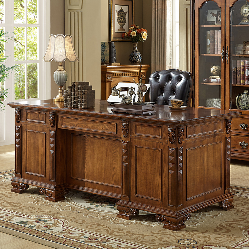 American desk solid wood study furniture simple small family desk office desk household European calligraphy computer desk