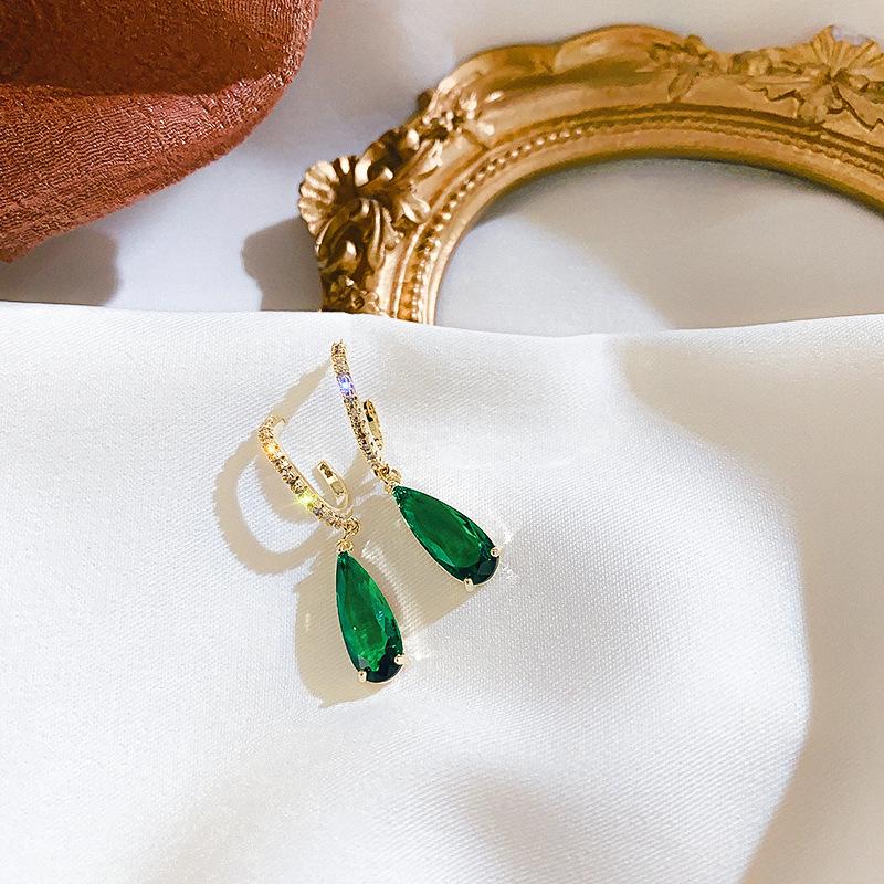 925银针韩国简约妈祖绿宝石耳环气质微镶锆石耳钉网红耳饰