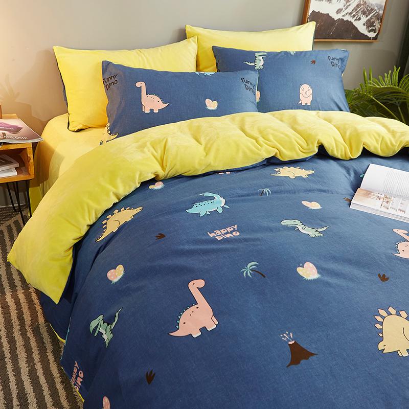 冬季加绒四件套卡通床上用品全棉水晶绒加厚珊瑚绒纯棉床单被套