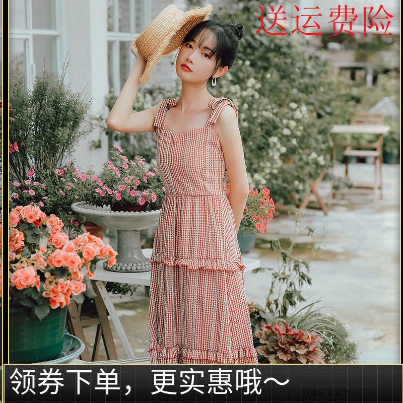 2019夏季法式桔梗复古森系裙子女学生格子收腰绑带无袖吊带连衣裙