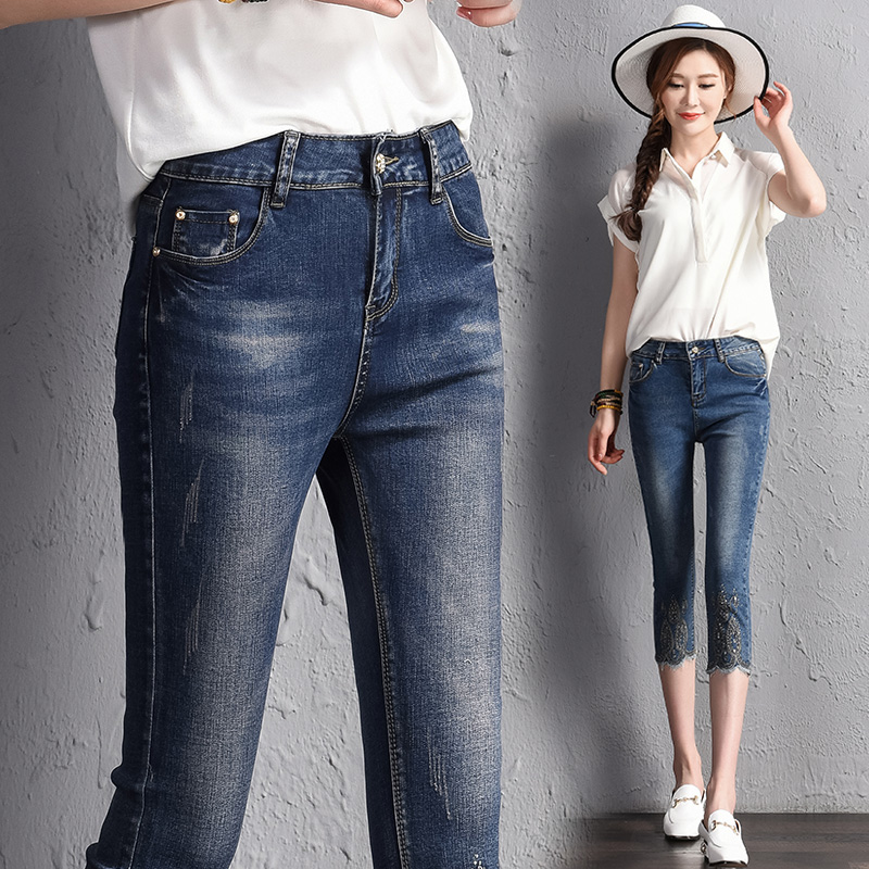 2021 spring and summer thin Capris womens light large stretch jeans slim fitting diamond 8-inch pencil pants