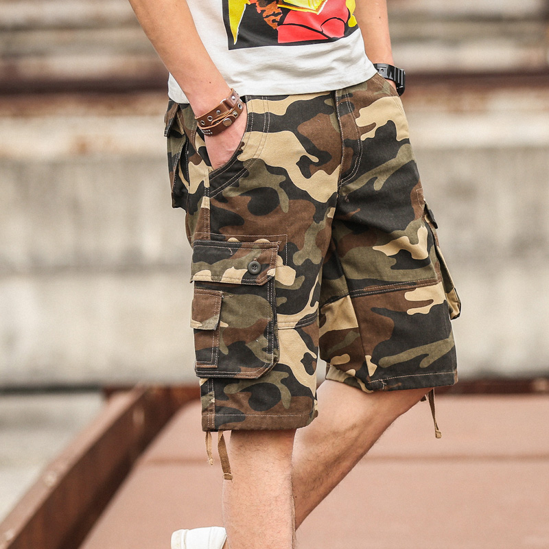 Summer popular camouflage pants mens shorts summer 7-point work pants beach pants 5-point breeches big size trend
