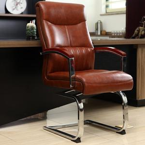可旋转弓形电脑椅真皮艺会议椅书桌椅座椅职员办公椅子老板椅家用