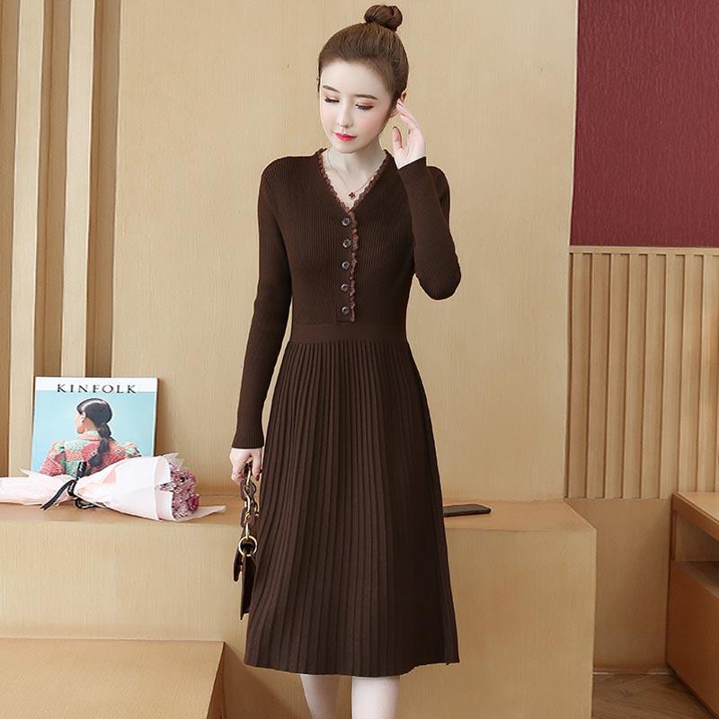 2020秋冬新款女装韩版优雅毛衣修身显瘦中长款显瘦打底针织连衣裙
